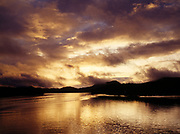 Sunset over Campbell Island near Bella Bella, Lama Passage of the Inside Passage, British Columbia, Canada.