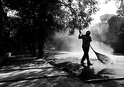 4th October 2015, New Delhi, India. A street sweeper in New Delhi, India on the 4th October 2015<br /> <br /> PHOTOGRAPH BY AND COPYRIGHT OF SIMON DE TREY-WHITE a photographer in Delhi<br /> <br /> + 91 98103 99809<br /> email: simon@simondetreywhite.com