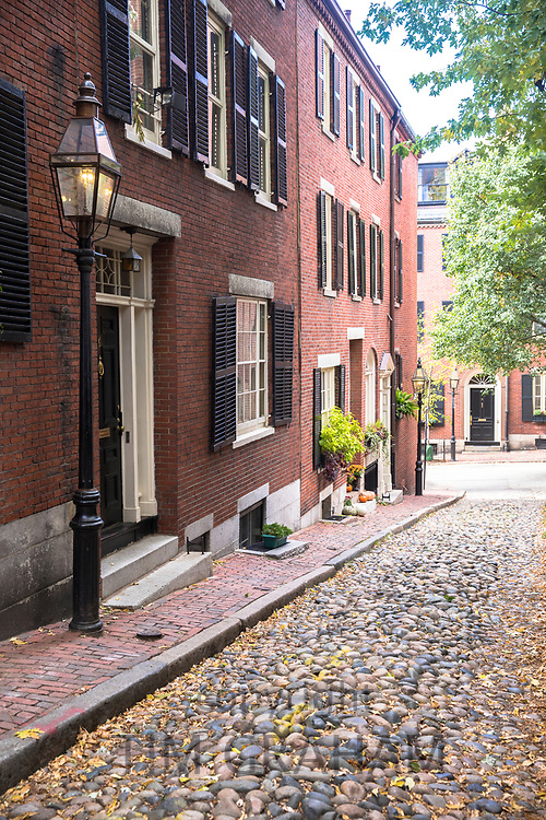 The famous cobbled street Beacon Hill in the historic district of Boston, Massachusetts, USA