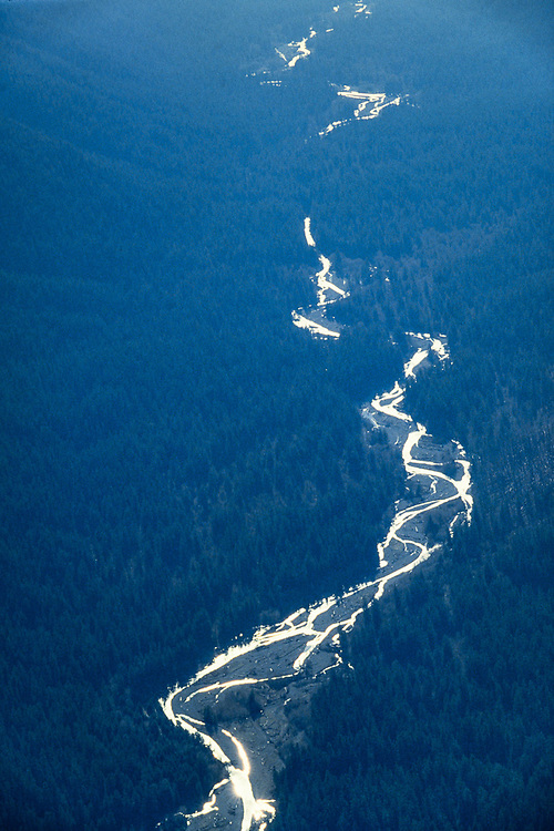 Aerial view of the Hoh River Valley, afternoon haze, Olympic National Park, Washington, USA