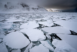 Sea ice in March in Raudfjorden, Spitsbergen, Svalbard, Norway