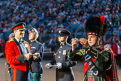 The 2019 Royal Edinburgh Military Tattoo launches its 2019 show Kaleidoscope. Staged on the Edinburgh Castle Esplanade between 2-24 August, the show marks its 69th year.<br /> <br /> Pictured: The toast at the start of the Tattoo