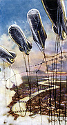Air Raid Precautions': Set of 50 cards issued by WD & H0 Wills, Britain 1938, in preparation for the anticipated coming of World War II. Representation of Barrage Balloons which formed part of the defences of London against German bombers.
