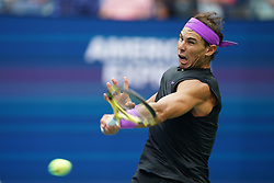 NEW YORK, Sept. 9, 2019  Rafael Nadal of Spain hits a return during the men's singles final match between Rafael Nadal of Spain and Daniil Medvedev of Russia at the 2019 US Open in New York, the United States, Sept. 8, 2019. (Credit Image: © Liu Jie/Xinhua via ZUMA Wire)