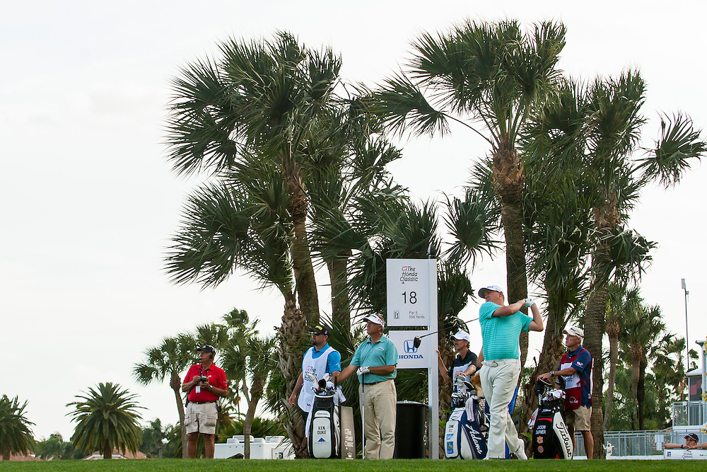Feb 26, 2015; Palm Beach Gardens, FL, USA; Jason Dufner tees off on the 18th hole during the first round of the Honda Classic at PGA National GC Champion Course. Mandatory Credit: Peter Casey-USA TODAY Sports