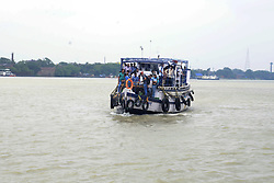 May 4, 2019 - Kolkata, West Bengal, India - Ferry service resume on river Ganga as weather stabilized after cyclonic storm Fani cross the West Bengal area. (Credit Image: © Saikat Paul/Pacific Press via ZUMA Wire)