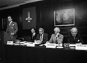 07/11/1982<br /> 11/07/1982<br /> 07 November 1982<br /> Fitzwilton Limited, Annual General Meeting at the Berkeley Court Hotel, Dublin. Picture shows (l-r): Dr. A.J.F. (Tony) O'Reilly, Chairman; J.R. McCluskey, Secretary; Vincent A. Ferguson, Director; ; Sir Basil Goulding, Director and The Lord Killanin, Director at the meeting.