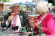 Annual Badgeholders enjoying a cup of Yorkshire Tea on The Champagne Lawn before racing at the York Dante Meeting at York Racecourse, York, United Kingdom on 18 May 2018. Picture by Mick Atkins.