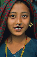 Nepal, Region de Pokhara, Jeune femme d'ethnie Chetri // Nepal, Pokhara area, young woman from Chetri ethnic group