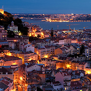 View of Lisbon's downtown  and martim Moniz square with river on the background