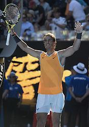MELBOURNE, Jan. 20, 2019  Rafael Nadal of Spain celebrates after the men's singles 4th round match against  Tomas Berdych of Czech Republic at the Australian Open in Melbourne, Australia, Jan. 20, 2019. (Credit Image: © Lui Siu Wai/Xinhua via ZUMA Wire)