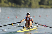 Banyoles, SPAIN,   BEL LW1X, Jo HAMMOND moves away from the start, during her heat of the women's Lightweigh single Sculls, at the  FISA World Cup Rd 1. Lake Banyoles Friday 29/05/2009   [Mandatory Credit. Peter Spurrier/Intersport Images]