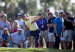 February 25, 2018 - Palm Beach Gardens, Florida, U.S. - Justin Thomas hits out of the rough on the 9th hole during the final round of the Honda Classic at PGA National Resort and Spa in Palm Beach Gardens, Florida on February 25, 2018. (Credit Image: © Allen Eyestone/The Palm Beach Post via ZUMA Wire)