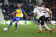 Southampton midfielder Nathan Redmond strikes the ball and scores Southampton's second goal during the The FA Cup 3rd round match between Derby County and Southampton at the Pride Park, Derby, England on 5 January 2019.