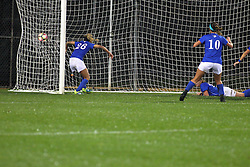 04 November 2016:  Brianne Richards(20) ends the game in sudden death scoring the only goal during an NCAA Missouri Valley Conference (MVC) Championship series women's semi-final soccer game between the Indiana State Sycamores and the Illinois State Redbirds on Adelaide Street Field in Normal IL