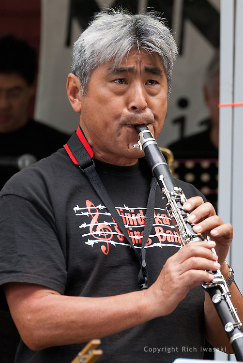 Band leader Larry Nobori performs with the Minidoka Swing Band on the grounds of Washington Country Museum, Hillsboro, Oregon