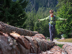 Girl balancing on fallen tree trunk, hiking in black forest, Feldberg, Baden-Württemberg, Germany