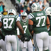 Geno Smith, New York Jets, talking to his offense during the New York Jets Vs Miami Dolphins  NFL American Football game at MetLife Stadium, East Rutherford, NJ, USA. 1st December 2013. Photo Tim Clayton