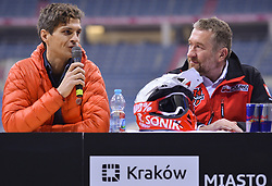 December 8, 2017 - Krakow, Poland - (Left-Right) Tomasz Gagat, the event promoter, and Rafal Sonik, a Polish quad rally driver, promote Dakar Rally 2018, during a press conference ahead of the Krakow's leg of the FIM SuperEnduro World Championship 2018 in Tauron Arena...On Friday, December 8, 2017, in Krakow, Poland. (Credit Image: © Artur Widak/NurPhoto via ZUMA Press)