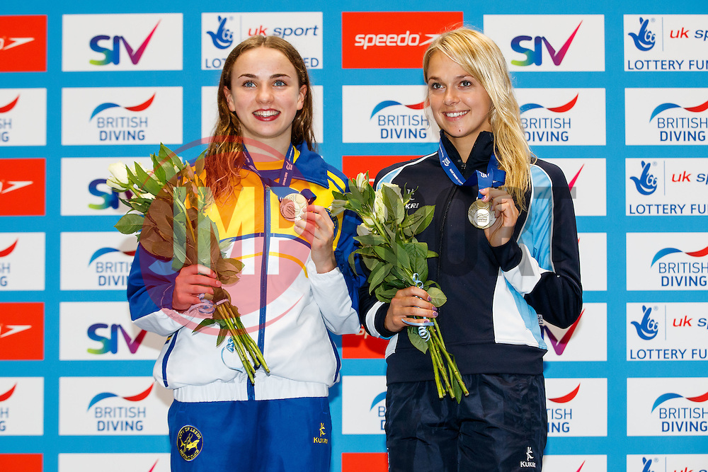 Lois Toulson from City of Leeds Diving Club and Tonia Couch from Plymouth Diving celebrate after winning Gold in the Womens Synchronised 10m Platform Final - Mandatory byline: Rogan Thomson/JMP - 10/06/2016 - DIVING - Ponds Forge - Sheffield, England - British Diving Championships 2016 Day 1.