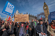 Arriving in Parliament square for speeches - A march against cuts to and potential privatisation of the NHS starts in Tavistock Square and heads for Parliament Square. The march was organised by the peoples assembly and supported by most major unions and the Labour Party.