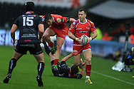 Gareth Davies of the Scarlets goes past Dan Evans of the Ospreys to set up the 1st half try from DTH Van Der Merwe of Scarlets. Guinness Pro12 rugby match, Ospreys v Scarlets at the Liberty Stadium in Swansea, South Wales on Saturday 26th March 2016.<br /> pic by  Andrew Orchard, Andrew Orchard sports photography.