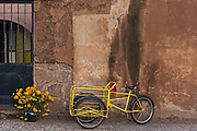 A delivery bicycle and marigold flowers in front of the Franciscan Convent and San Francisco church in Tzintzuntzan, Michoacan, Mexico.