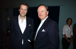 Left to right, TOM PARKER BOWLES and his father ANDREW PARKER BOWLES at a party to celebrate the publication of 'The year of Eating Dangerously' by Tom Parker Bowles held at Kensington Place, 201 Kensington Church Street, London on 12th october 2006.<br />