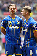 Dannie Bulman midfielder of AFC Wimbledon (4) and Jake Reeves midfielder for AFC Wimbledon (8) before the Sky Bet League 2 play off final match between AFC Wimbledon and Plymouth Argyle at Wembley Stadium, London, England on 30 May 2016. Photo by Stuart Butcher.
