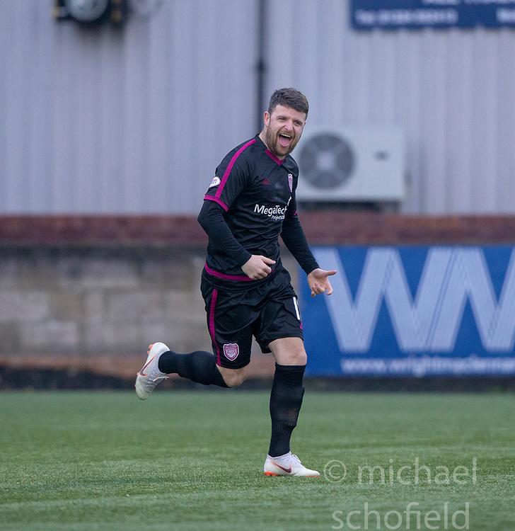 Arbroath's Bobby Linn celebrates after scoring their first goal. half time : Stenhousemuir 1 v 2 Arbroath, Scottish Football League Division One play12/1/2019 at Ochilview Park.