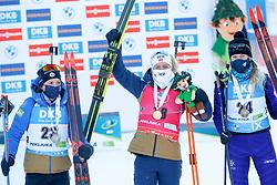 Anais Chevalier-Bouchet of France, Tiril Eckhoff of Norway, Hanna Sola of Belarus at medal ceremony during the IBU World Championships Biathlon Women's 7,5 km Sprint Competition on February 13, 2021 in Pokljuka, Slovenia. Photo by Primoz Lovric / Sportida