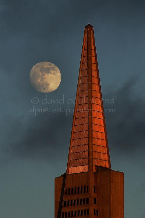 SAN FRANCISCO, CA: Moonrise over the Transamerica Building in San Francisco, California. Photograph by David Paul Morris