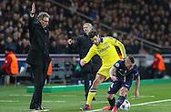 Chelsea's Cesc Fàbregas battles with Paris Saint-Germain Marco Verratti during the Champions League match between Paris Saint-Germain and Chelsea at Parc des Princes, Paris, France on 17 February 2015. Photo by Phil Duncan.