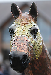 A horse sculpture entitled the banker on display during day three of the Punchestown Festival at Punchestown Racecourse, County Kildare, Ireland.