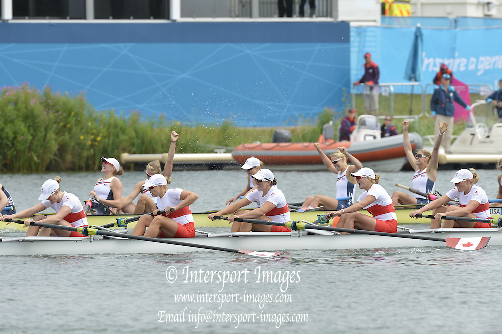 Eton Dorney, Windsor, Great Britain,..2012 London Olympic Regatta, Dorney Lake. Eton Rowing Centre, Berkshire.  Dorney Lake.   .. Women's eights final. USA W8+, CAN W8+  12:36:19   Thursday  02/08/2012   [Mandatory Credit: Peter Spurrier/Intersport Images]  .