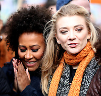 Emeli Sandé and  Natalie Dormer at March4Women 2020 rally at Southbank Centre on March 08, 2020 in London, England. The event is to mark International Women's Day photo by Roger Alarcon