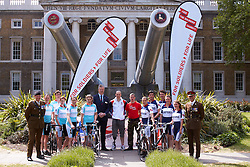 © licensed to London News Pictures. LONDON, UK  03/05/2011. Teams from Oxford (R) and Cambridge (L) Universities are competing in a 1,000 miles cycle race to raise money for wounded service men and women via ABF The Soldiers Charity and Combat Stress. At a launch event today  at the Imperial War Museum they met Corporal Terry Byrne (C) who lost a leg in Afghanistan before taking up cycling and has since broken two world records. He is a medal contender at the London 2012 Paralympic Games. Please see special instructions for usage rates. Photo credit should read CLIFF HIDE/LNP