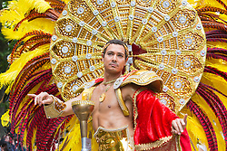 "© Licensed to London News Pictures. 27/08/2012 London, England. Pictured: dancers and performers from the ""Paraiso School of Samba"". Notting Hill Carnival 2012, the largest street festival in Europe, gets its parade on Adults' Day under way. Photo credit: Bettina Strenske/LNP"
