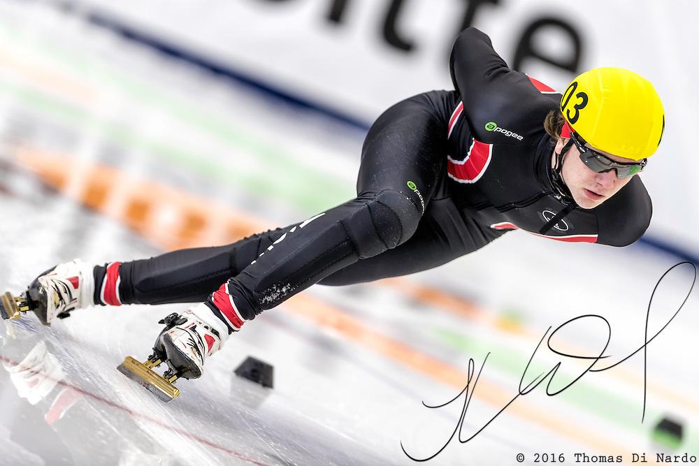 December 17, 2016 - Kearns, UT - Ethan Cepuran skates during US Speedskating Short Track Junior Nationals and Winter Challenge Short Track Speed Skating competition at the Utah Olympic Oval.