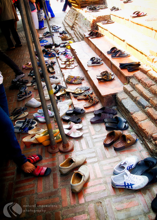 Shoes of the world.  Before entering a Budhist temple, all must remove their shoes.
