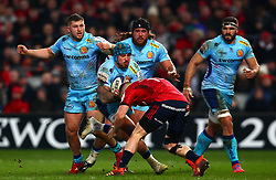 Jack Nowell of Exeter Chiefs is tackled by Andrew Conway of Munster Rugby - Mandatory by-line: Ken Sutton/JMP - 19/01/2019 - RUGBY - Thomond Park - Limerick,  - Munster Rugby v Exeter Chiefs -