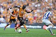 Mohamed Diame of Hull City in action. Skybet football league Championship play off final match, Hull city v Sheffield Wednesday at Wembley Stadium in London on Saturday 28th May 2016.<br /> pic by John Patrick Fletcher, Andrew Orchard sports photography.