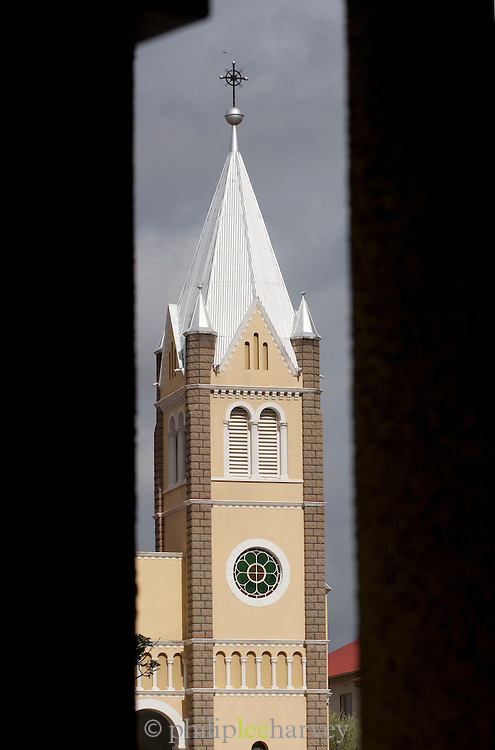 One spire of St. Mary's Cathedral, a Roman Catholic church in Windhoek, the capital and largest city of Namibia