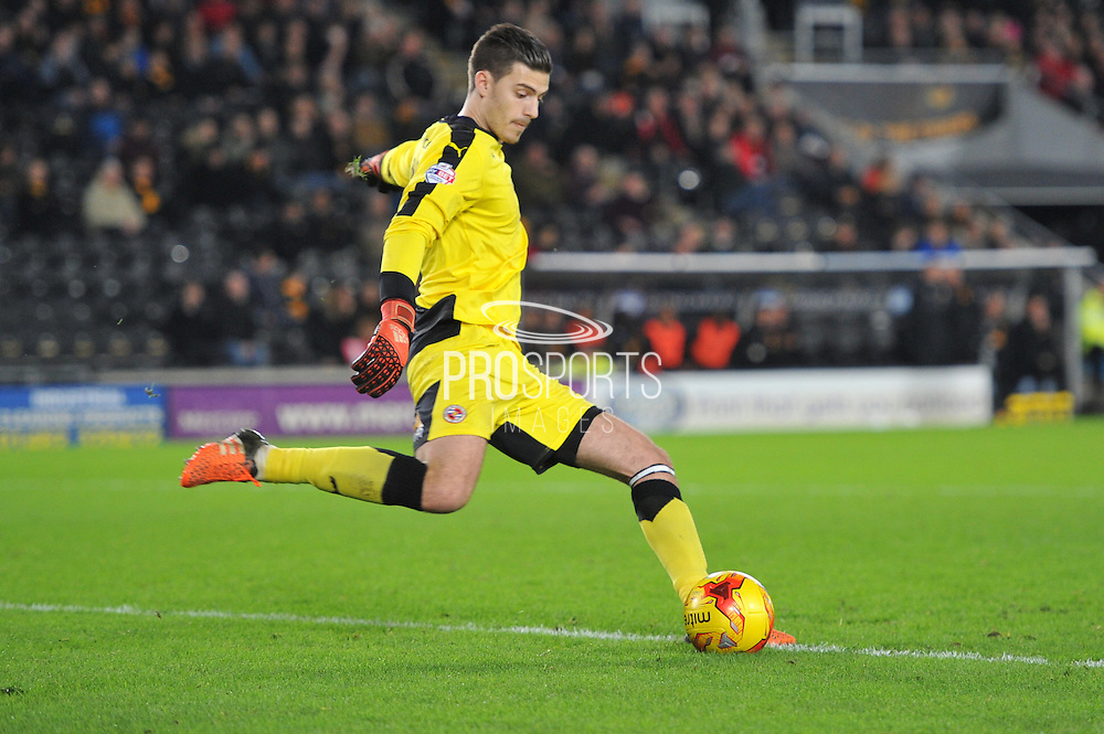 Jonathan Bond of Reading FC takes goal kick  during the Sky Bet Championship match between Hull City and Reading at the KC Stadium, Kingston upon Hull, England on 16 December 2015. Photo by Ian Lyall.