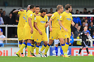 GOAL Andy Barcham celebrates during the EFL Sky Bet League 1 match between Rochdale and AFC Wimbledon at Spotland, Rochdale, England on 27 August 2016. Photo by Daniel Youngs.