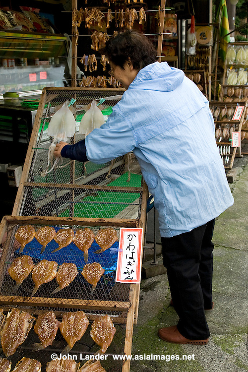 Japanese Fishmonger, Ito, Izu . Fresh fish is an important form of food for the Japanese, who consume it nearly every day.