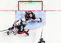 OTTAWA, ON - FEBRUARY 08:  Ottawa Senators Goalie Matt Murray (30) makes a pads save against Edmonton Oilers Left Wing James Neal (18) as Edmonton Oilers Left Wing Ryan Nugent-Hopkins (93) and Ottawa Senators Defenceman Artem Zub (2) battle for position during the second period of the NHL game between the Ottawa Senators and the Edmonton Oilers on February 08, 2021 at the Canadian Tire Centre in Ottawa, Ontario, Canada. (Photo by Steven Kingsman/Icon Sportswire)