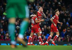 Aden Flint of Bristol City celebrates with Bobby reid - Mandatory by-line: Matt McNulty/JMP - 09/01/2018 - FOOTBALL - Etihad Stadium - Manchester, England - Manchester City v Bristol City - Carabao Cup Semi-Final First Leg