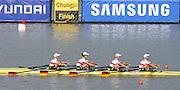 Chungju, South Korea.  Final Women's Quadruple Scull. 2013 FISA World Rowing Championships, Tangeum Lake International Regatta Course.16:26:42  Saturday  31/08/2013 [Mandatory Credit. Peter Spurrier/Intersport Images]<br /> <br /> 1GER W4X, Annekatrin THIELE (b) , Carina BAER (2) , Julia RICHTER (3) , Britta OPPELT (s)<br /> <br /> 2CAN W4X,Emily CAMERON (b) , Katharine GOODFELLOW (2) , Carling ZEEMAN (3) , Antje VON SEYDLITZ-KURZBACH (s)<br /> <br /> 3POLW4X Sylwia LEWANDOWSKA (b) , Joanna LESZCZYNSKA (2) , Magdalena FULARCZYK (3) , Natalia MADAJ <br /> <br /> 4NEDW4X Lisa SCHEENAARD (b) , Chantal ACHTERBERG (2) , Sophie SOUWER (3) , Nicole BEUKERS <br /> <br /> 5USAW4X Kara KOHLER (b) , Zsuzsanna FRANCIA (2) , Esther LOFGREN (3) , Megan KALMOE<br /> <br /> 6ITA W4X. Sara MAGNAGHI (b) , Giada COLOMBO (2) , Laura SCHIAVONE (3) , Gaia PALMA.