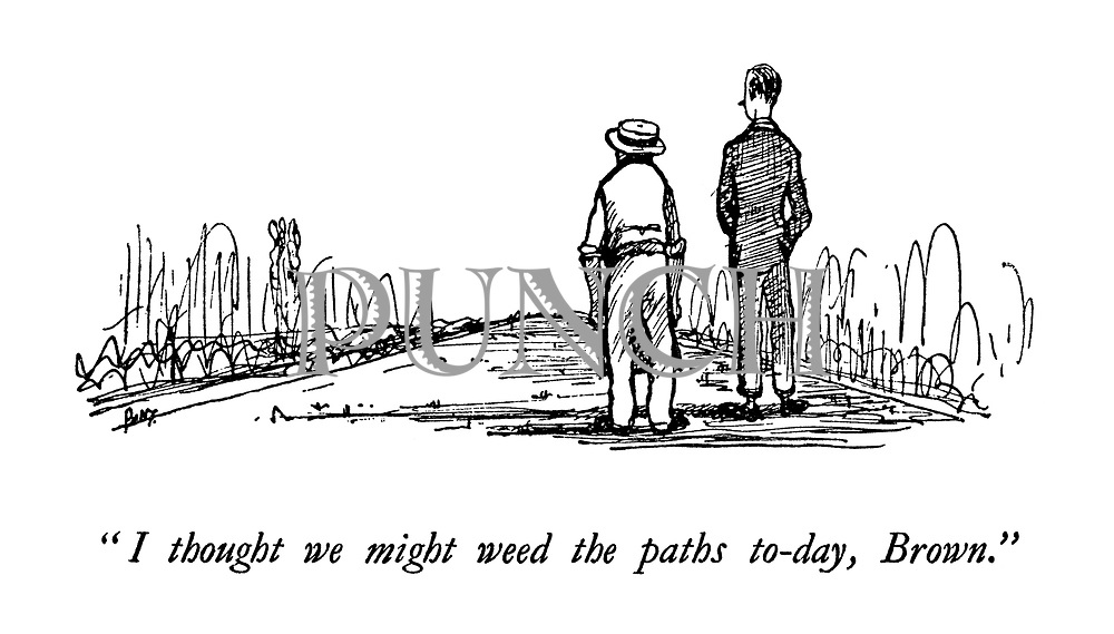 """""""I thought we might weed the paths today, Brown."""""""